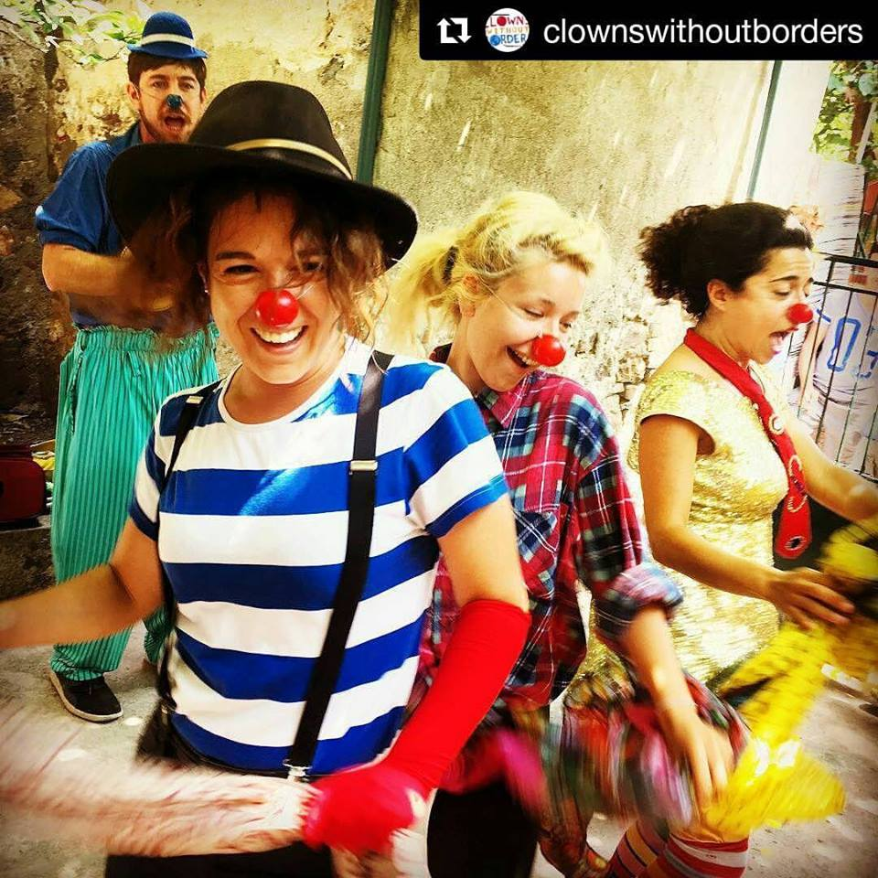 Clown performance in Minors Center Lesvos Greece