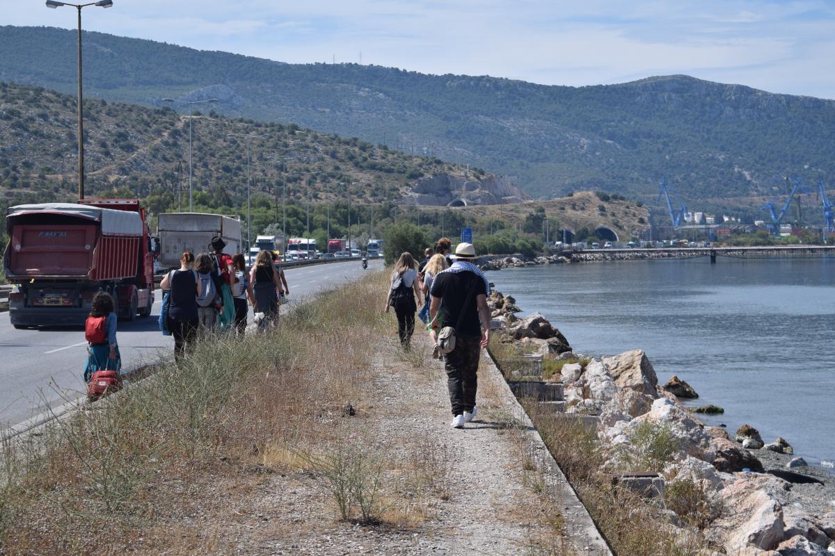 Walk to Saramagas Refugee Camp Athens Greece