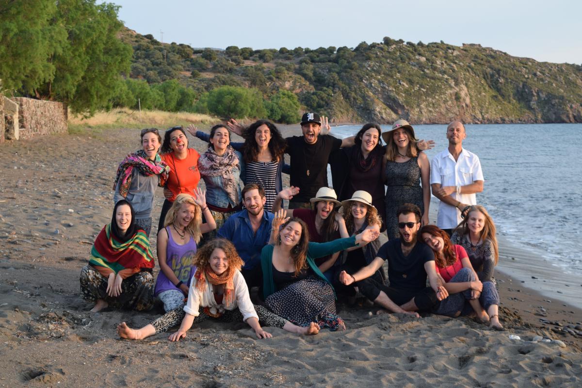 Group photo on the beach Lesvos