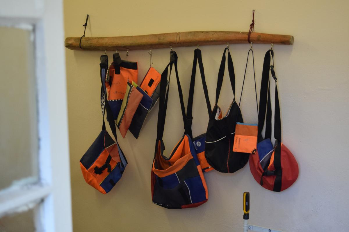 Mosaik Support Center bags made out of life jackets