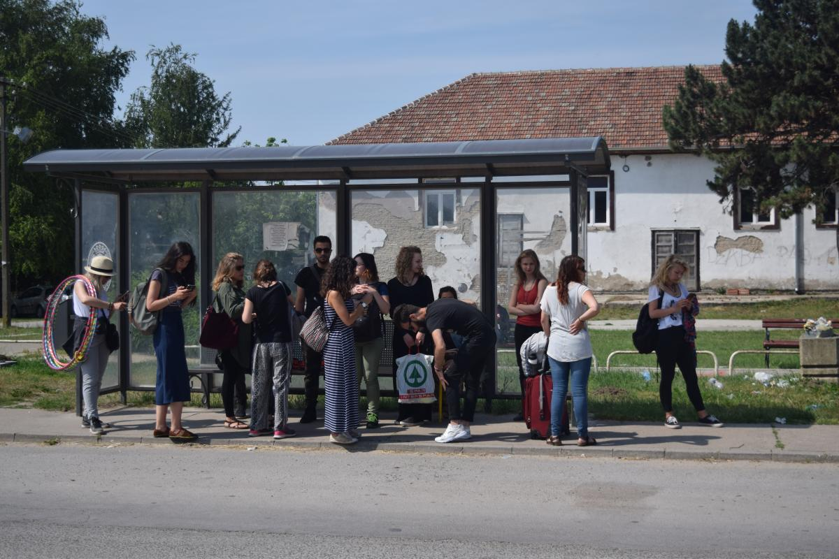 Waiting for the bus Subotica Serbia