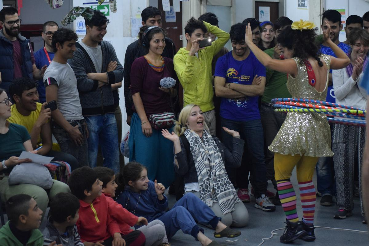 Performance in Refugee Aid Miksalište Belgrade Serbia