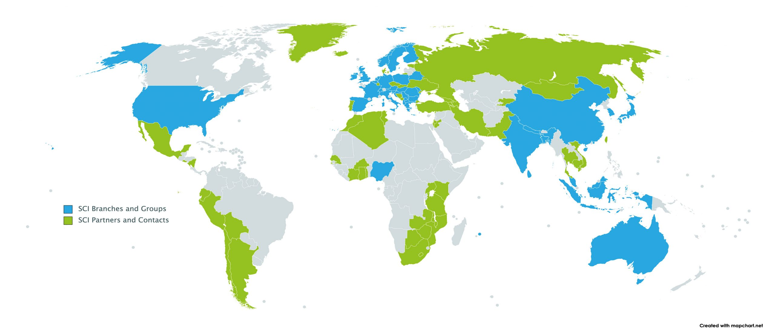 Map of where SCI is in the world