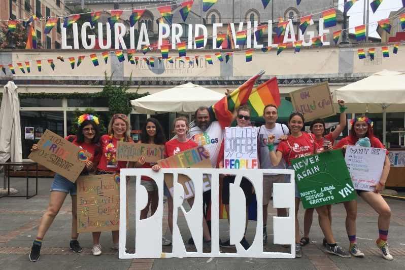 Liguria pride, group picture of the volunteers
